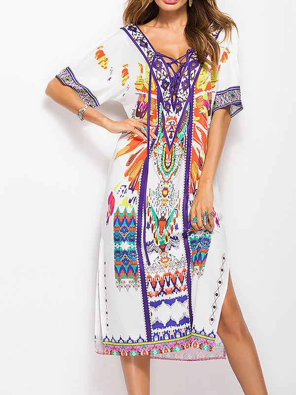 White V Neck Casual Cotton-blend Printed Dresses