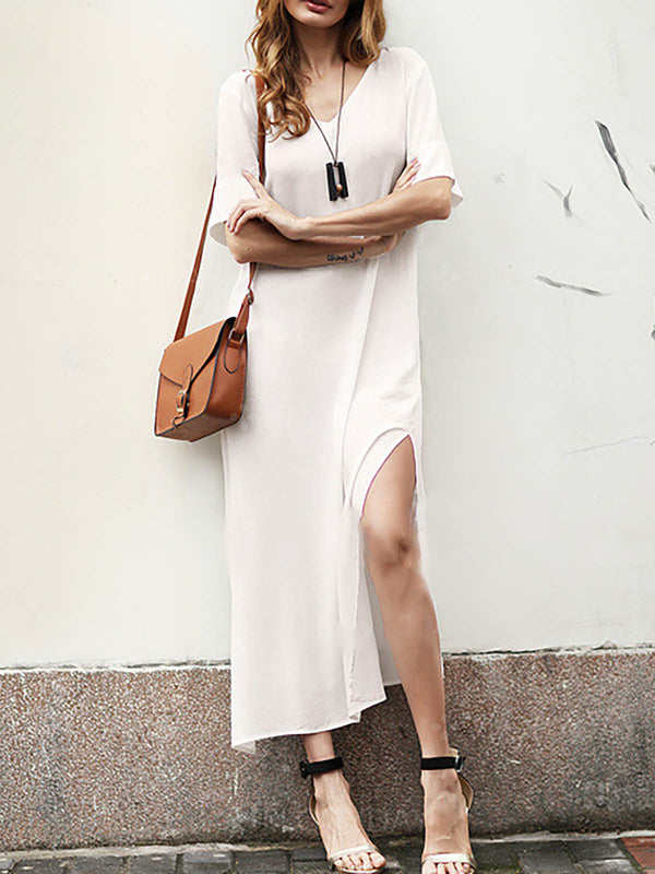 White V-neck Paneled Casual Half Sleeve Plus Size Dress