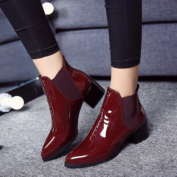 Lastic Band Pointed Block Patent Leather Boots For Women