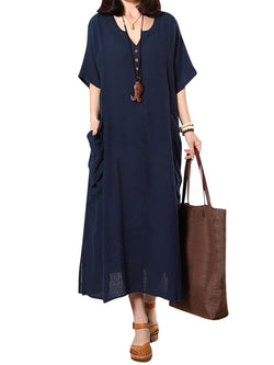 Navy Blue Casual Cotton Shift Buttoned Dress