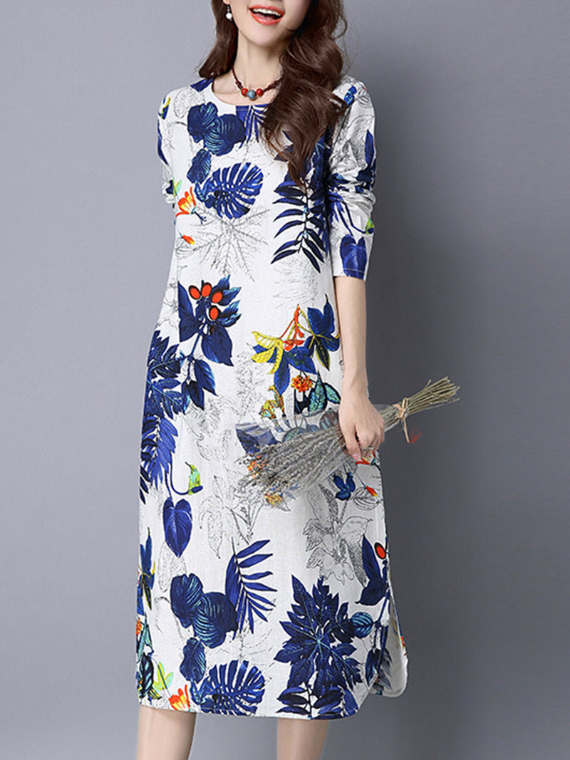 Printed Linen Vintage Long Sleeve A-line Dress