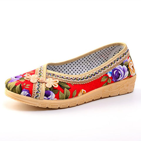 Soft Breathable Flower Embroidered Flats