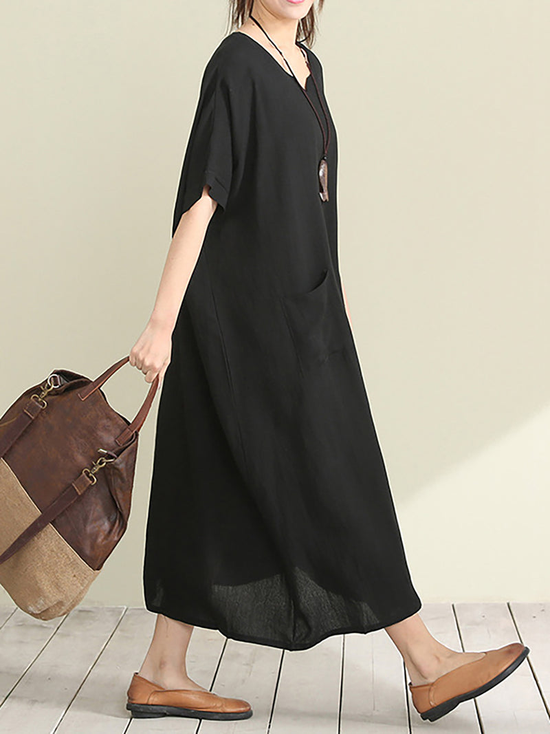 Black Basic Paneled Linen Summer Dress