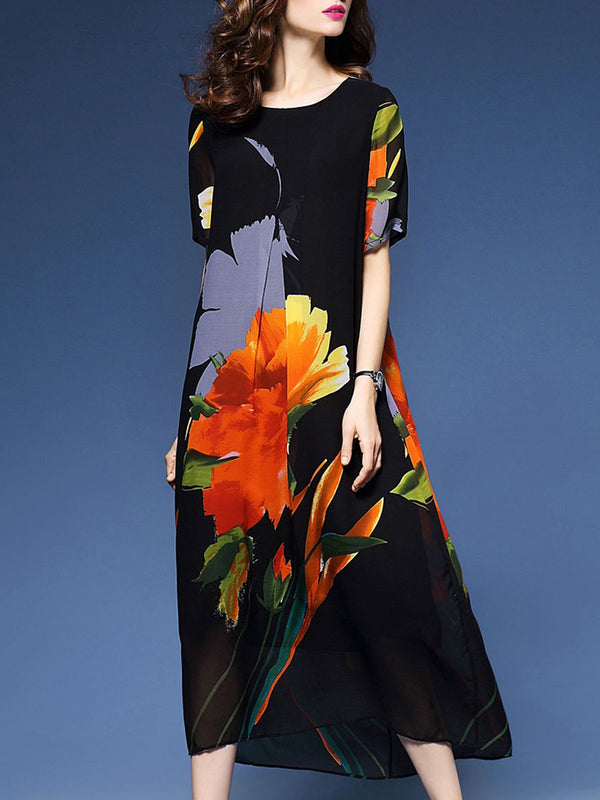 Elegant Women Floral Printed Short Sleeve Dress