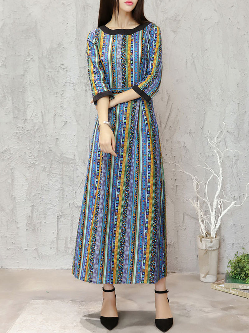 Casual Paneled Striped 3/4 Sleeve Linen Dress