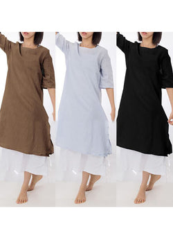 Casual Crew Neck Solid Half Sleeve Shift Plus Size Linen Dress