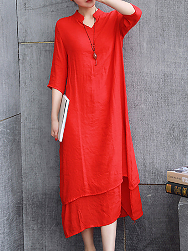 Casual 3/4 Sleeve V Neck Drawcord Linen Dress