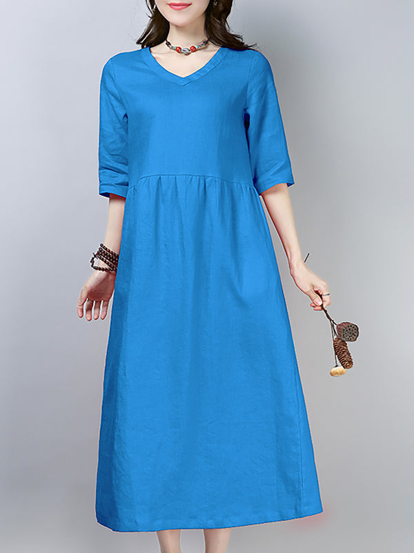 Casual Paneled Solid Half Sleeve Linen Dress