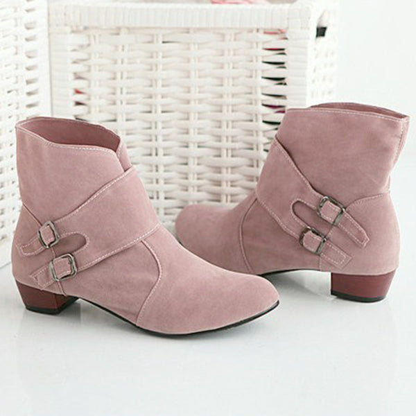 Women Flocking Booties Casual Comfort  Buckle Shoes