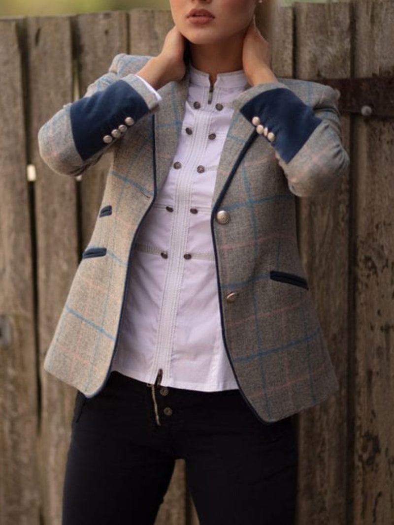 Gray Gingham Lapel Long Sleeve Buttoned Jackets