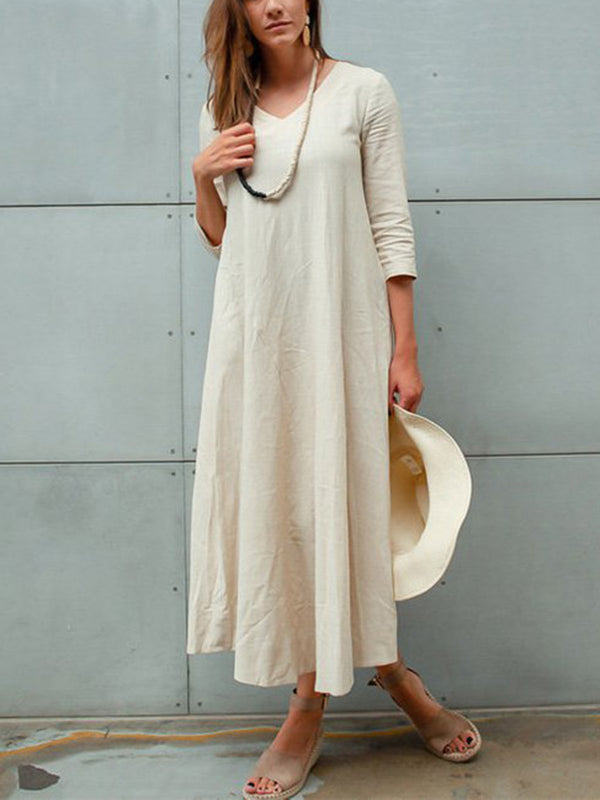 Casual V Neck Solid Pockets Dress
