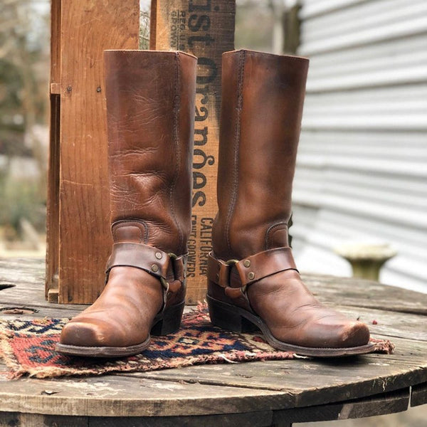 Vintage Slip-On Mid-Calf Boots Chunky Heel Square Toe Cowboy Boots