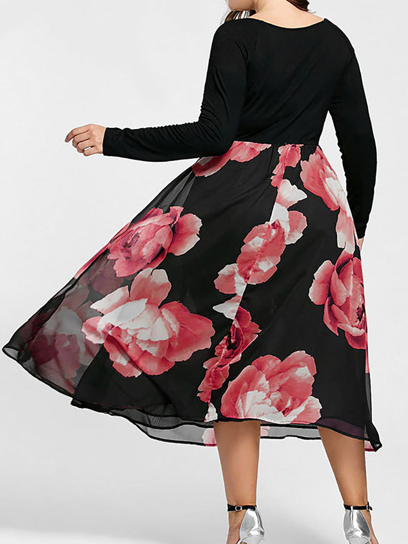 Black Floral Paneled Basic V Neck Casual Dress