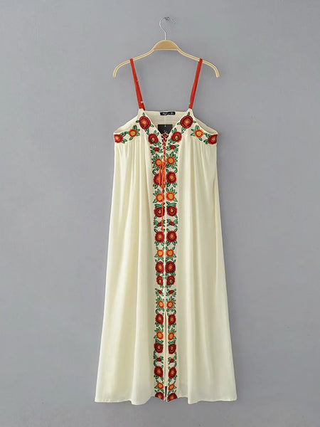 Beige Spaghetti Swing Casual Dress