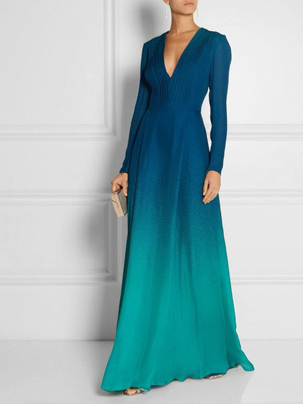 V Neck Swing Elegant Color-Block Maxi Dress