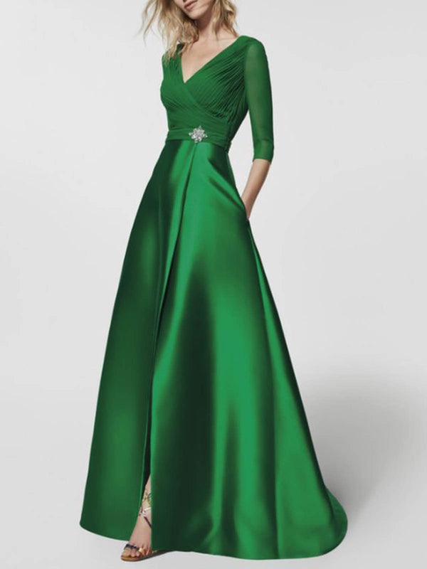 Ball Gown Date Solid Elegant Maxi Dress With Brooch