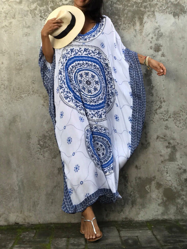 Tribal Printed Half Sleeve Summer Dress