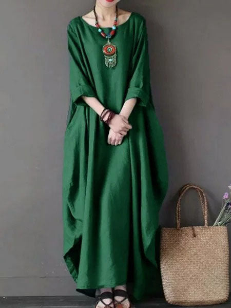 Solid Swing Long Sleeve Casual Cocoon Dress