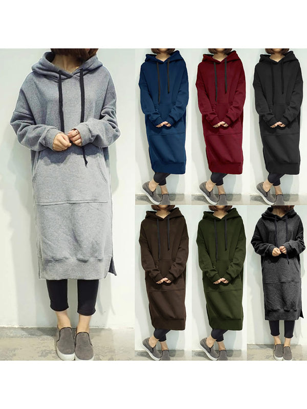 Hoodie Casual Paneled Pockets Slit Dress