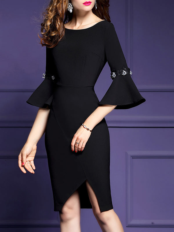 Beaded Bateau/boat Neck Asymmetric Work Dress