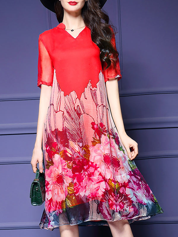 Elegant Floral Printed V-Neck Chiffon Dress