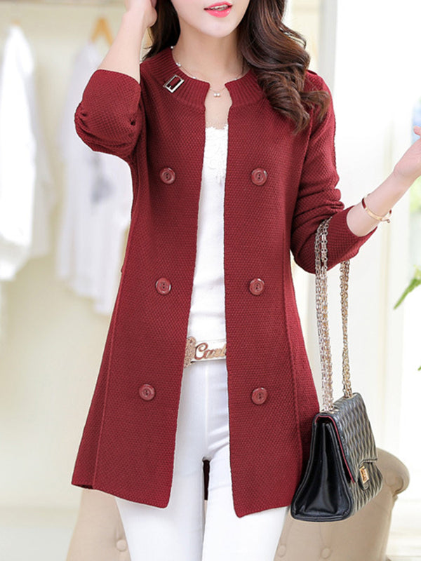 Knitted Long Sleeve Buttoned Cardigan