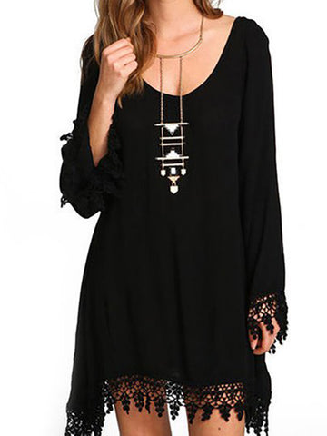 Black A-line Women Casual Long Sleeve Solid Casual Dress