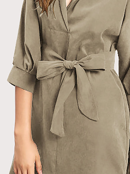 Army Green Basic Cotton Summer Dress