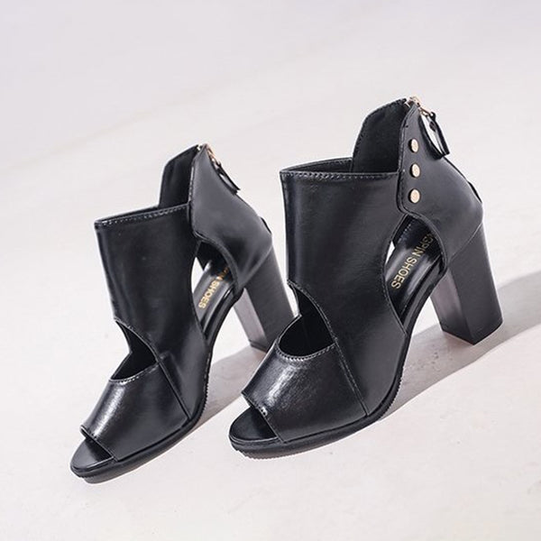 Women PU Pumps Casual Peep Toe Zipper Boots