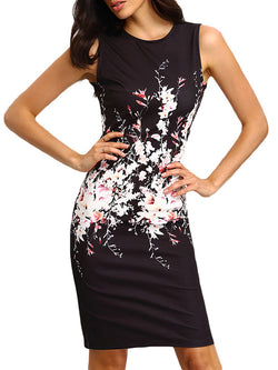 Crew Neck Polyester Short Sleeve Sheath Elegant Dresses