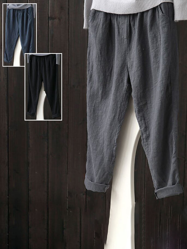 Linen Solid Casual Plus Size Pants