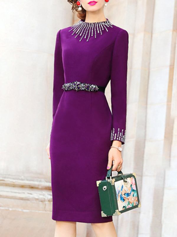 Stand Collar Bodycon Beaded Elegant Midi Dress