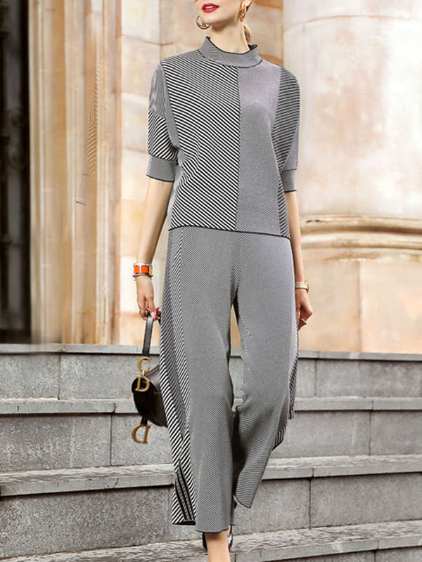 Gray Striped Shift Casual Top With Pants Set