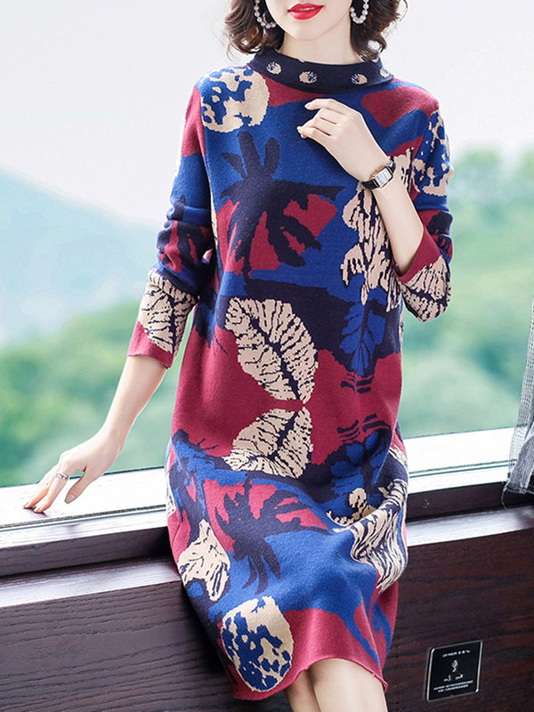 Knitted Graphic Elegant Sweater Dress
