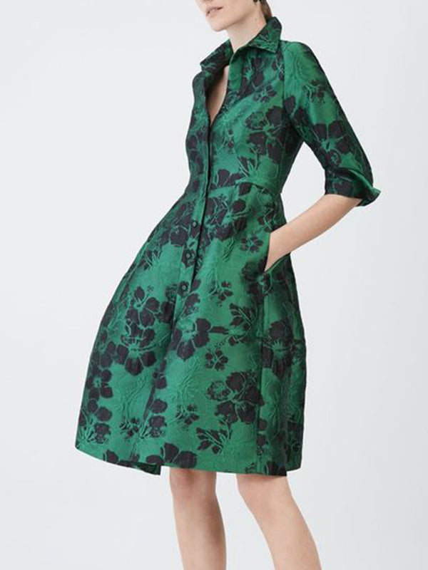 Shirt Collar A-Line Date Printed Midi Dress