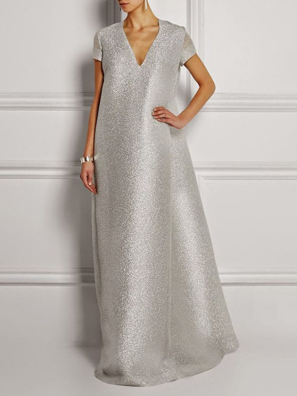 Silver Shift Glitter-finished Elegant Maxi Dress