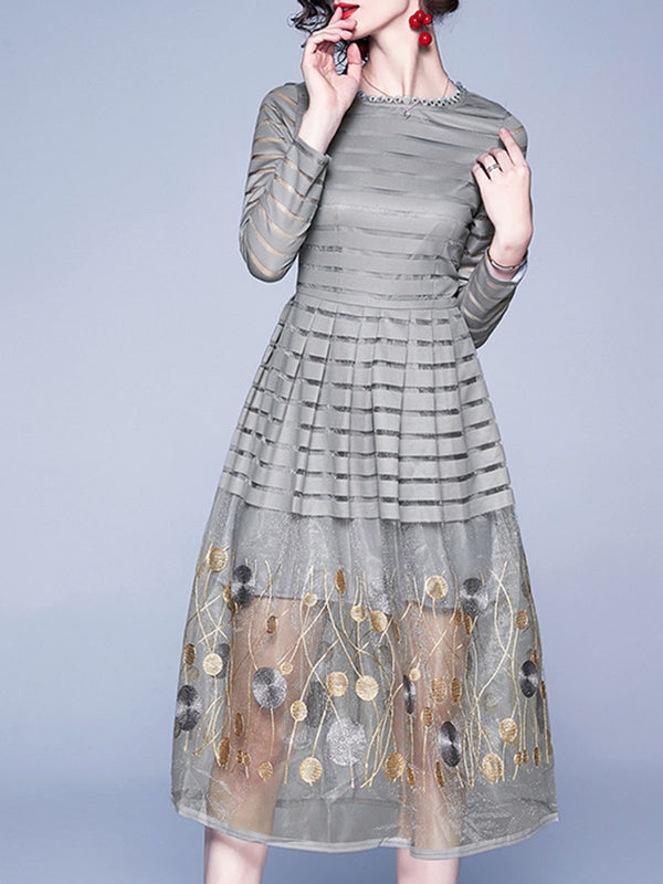 A-Line Embroidered Daily Elegant Midi Dress