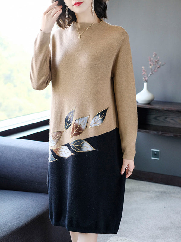 Knitted Printed Leaf Elegant Sweater Dress