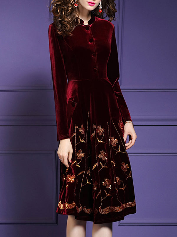 Stand Collar Burgundy Elegant Floral Midi Dress