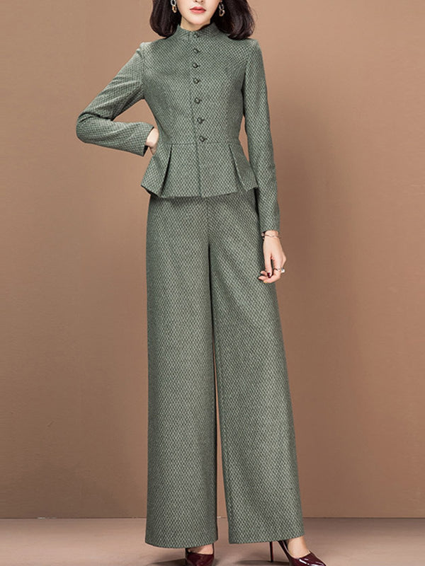 Olive Green Shift Long Sleeve Suit