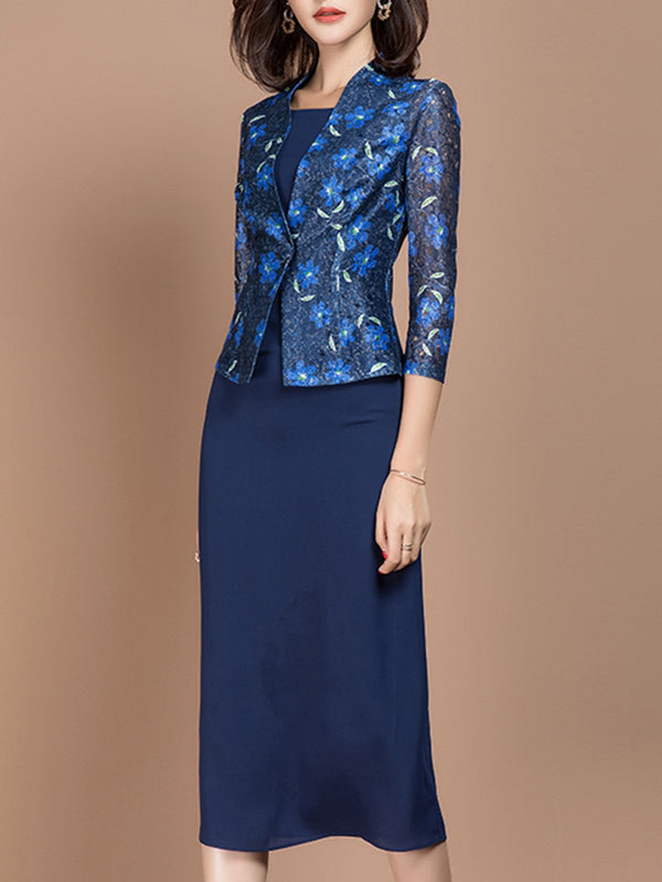Blue Printed Two Piece Solid 3/4 Sleeve Suits