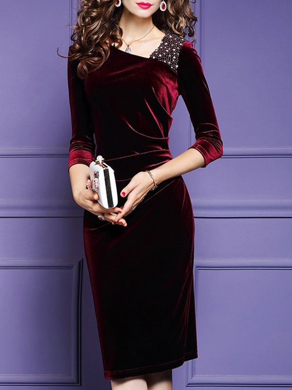 V Neck Sheath Date Beaded Elegant Midi Dress