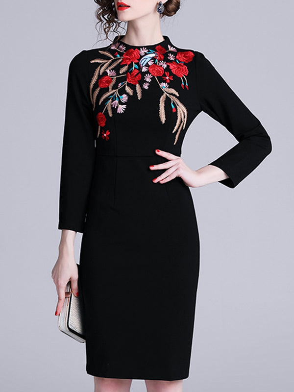 Embroidered Floral Elegant Midi Dress