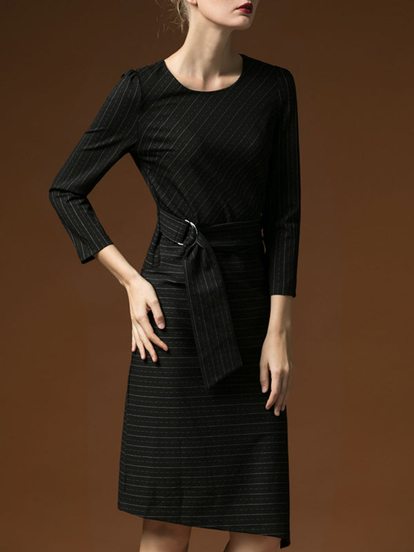 Stripes Asymmetric Sheath Elegant Midi Dress