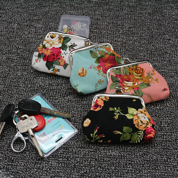 Vintage Flower Snap Zipper Coin Purse