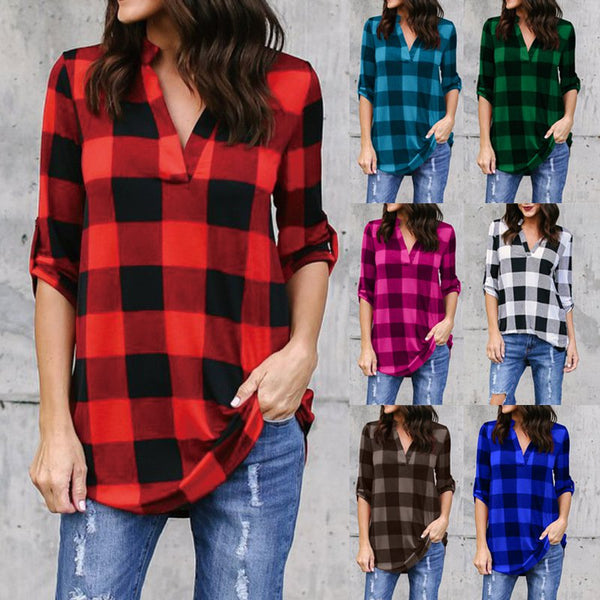 Casual  Leisure Checkered V Neck Shirt
