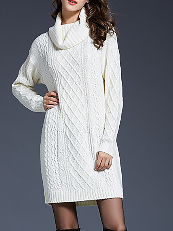Turtleneck Fashion Sweater long dresses