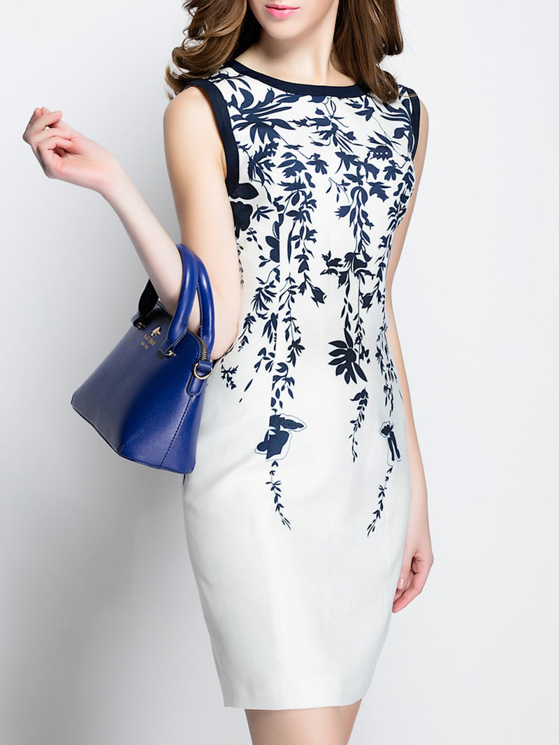 White Sheath Printed Basic Leaf Dress