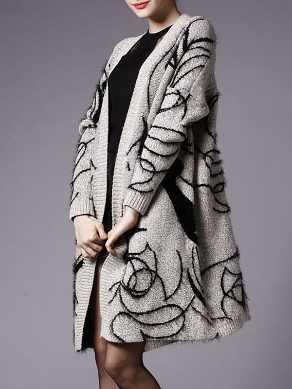 Gray Casual Wool Graphic Cardigan Coat