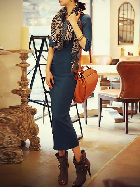 Black Basic Backless Casual Dress